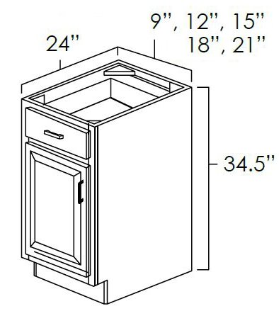 Single Door Single Drawer Base