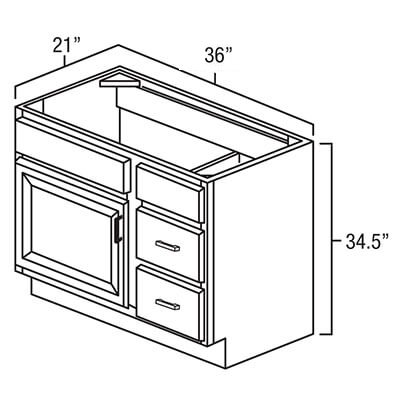 Vanity Combo Bases-Drawers Right